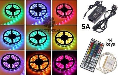 LED set, 5 meter, RGB 5050 mét WIT (waterproof) , compleet