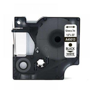 Dymo D1  Lettertape 12 mm, Zwart op Wit (Compatibel)