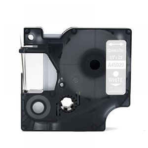 Dymo D1  Lettertape 12 mm, Wit op Transparant (Compatibel)