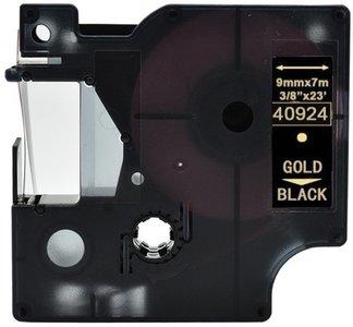 Dymo D1  Lettertape 9 mm, Goud op Zwart (Compatibel)