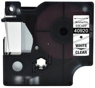 Dymo D1  Lettertape 9 mm, Wit op transparant (Compatibel)