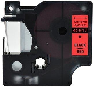 Dymo D1  Lettertape 9 mm, Zwart op Rood (Compatibel)