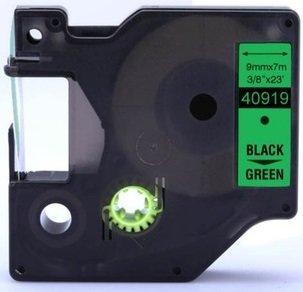 Dymo D1  Lettertape 9 mm, Zwart op Groen (Compatibel)
