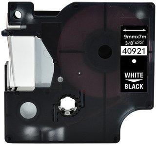Dymo D1  Lettertape 9 mm, Wit op Zwart (Compatibel)
