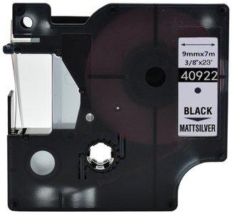 Dymo D1  Lettertape 9 mm, Zwart op Zilver (Compatibel)