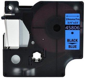 Dymo D1  Lettertape 19 mm, Zwart op Blauw (Compatibel)