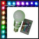 Lamp-E27-RGB-Globe-flash-bulb-LED--E27-16-Kleuren-mét-afstandsbediening